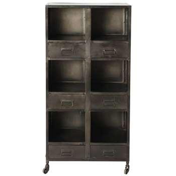 CLAYTON Metal industrial shelf unit on castors W 60cm