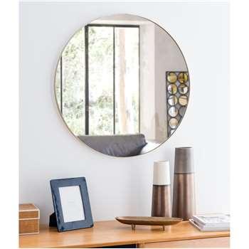 CLEMENT - Round Golden Metal Mirror (Diameter 70cm)