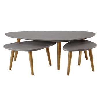 Cleveland 3 wooden coffee tables in grey (40 x 120cm)