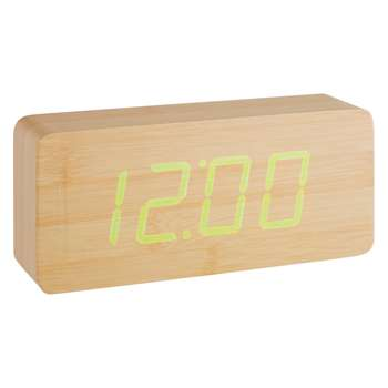 Click Clock Natural wood-effect LED alarm clock 10 x 21cm