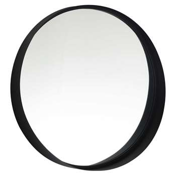 CLIFFORD Black Metal Round Mirror (H60 x W60 x D11.5cm)