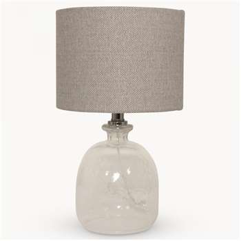 Clifton Round Glass Table Lamp with Shade (H43cm)