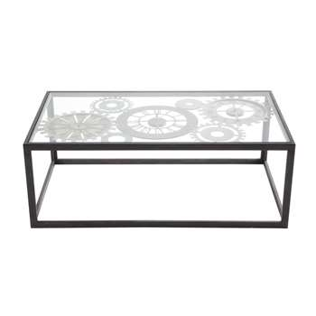 CLOCKS Metal and tempered glass coffee table with 3 clocks (37 x 110cm)