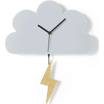 Cloud & Lightning Acrylic Clock by Tatty Devine, Grey & Gold (H36 x W30 x D5cm)