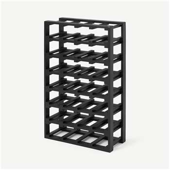 Clover Acacia Wood 28 Bottle Wine Rack, Extra Large, Black Stain (H68 x W40 x D18cm)