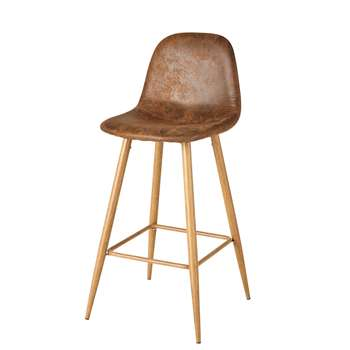 CLYDE Antique Brown Microsuede Bar Chair (101 x 44cm)