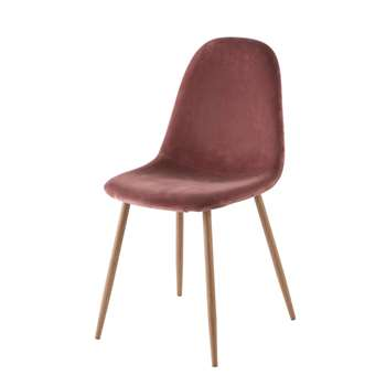 CLYDE Antique Pink Velvet Scandinavian-Style Chair (H86 x W44 x D55cm)