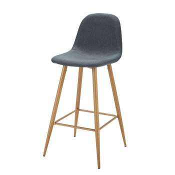 CLYDE Blue Denim-Coloured Fabric Bar Chair (H102 x W43 x D49cm)