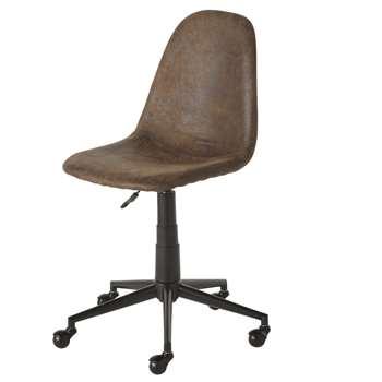 Clyde - Brown Faux Suede Wheeled Adjustable Desk Chair (H81 x W60 x D64cm)