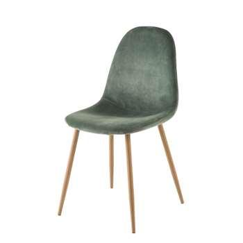 CLYDE Green Velvet Scandinavian-Style Chair (H86 x W44 x D55cm)