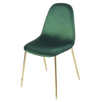 CLYDE Green Velvet Scandinavian-Style Chair (H86 x W45 x D55cm)
