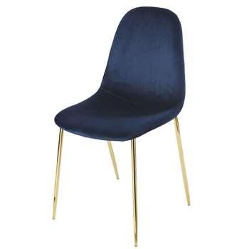 CLYDE Midnight Blue Velvet Scandinavian-Style Chair (H86 x W45 x D55cm)