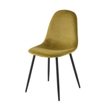 CLYDE Yellow Velvet Scandinavian-Style Chair (H86 x W44 x D55cm)