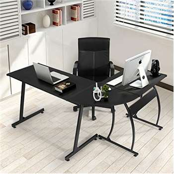 Coavas Office L-Shaped Corner Desk, Black (74 x 154cm)
