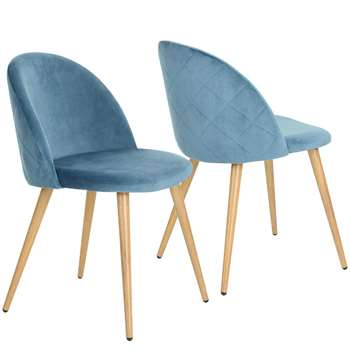 Coavas - Set of 2 Soft Velvet Dining and Kitchen Chairs, Blue (H77.5 x W53 x D49cm)