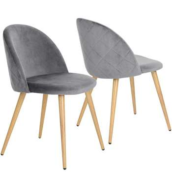 Coavas - Set of 2 Soft Velvet Dining and Kitchen Chairs, Grey (H77.5 x W53 x D49cm)