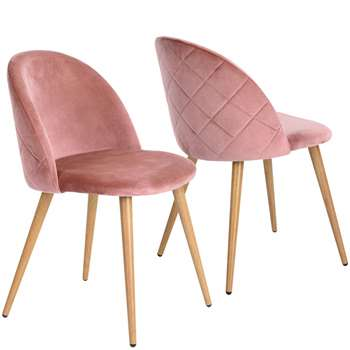 Coavas - Set of 2 Soft Velvet Dining and Kitchen Chairs, Pink (H77.5 x W53 x D49cm)