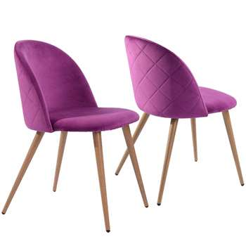 Coavas - Set of 2 Soft Velvet Dining and Kitchen Chairs, Purple (H77.5 x W53 x D49cm)