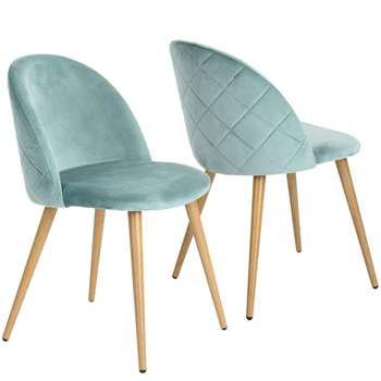 Coavas - Set of 2 Soft Velvet Dining and Kitchen Chairs, Aqua (H77.5 x W53 x D49cm)