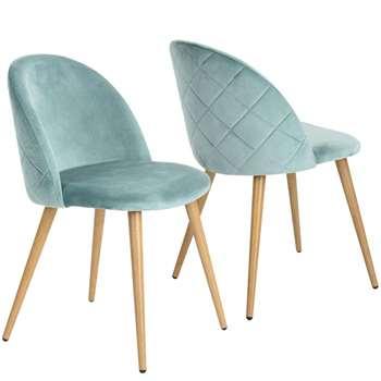 Coavas - Set of 2 Soft Velvet Dining and Kitchen Chairs, Aqua (H77.5 x W53 x D49cm)