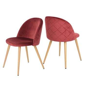 Coavas - Set of 2 Soft Velvet Dining and Kitchen Chairs, Bordeaux (H77.5 x W53 x D49cm)