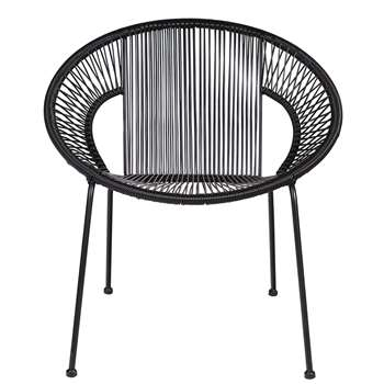 Woood - Cocktail Sling Garden Chair in Black (H73 x W69 x D65cm)
