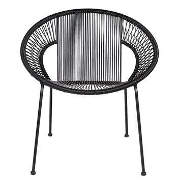 Woood - Cocktail Sling Garden Chair in Black (H73 x W69 x D65cm)