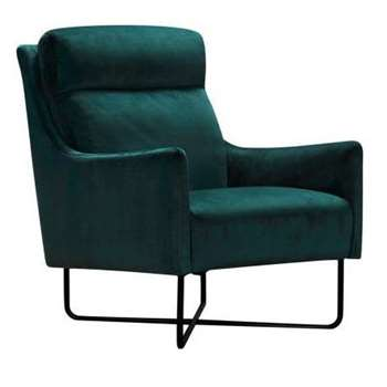Coco Teal Velvet Fabric Accent Chair (H90 x W72 x D92cm)