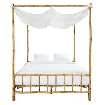 Coconut Bamboo and White Fabric Four-Poster Bed