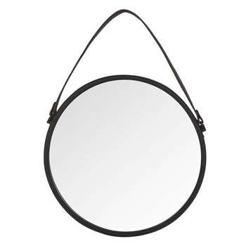 CODY Round Metal Mirror in Black (H55 x W55 x D1.2cm)
