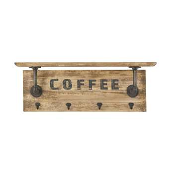 COFFEE - Black Metal and Fir 4-Hook Coat Rack (H27 x W78 x D16cm)