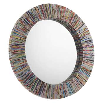 Habitat Cohen Multi-Coloured Recycled Magazine Round Wall Mirror (Diameter 72cm)