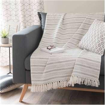 COIMBRA cotton throw, grey (160 x 210cm)