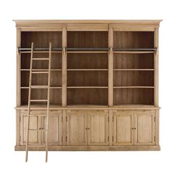 COLBERT Antique oak 3-part bookcase (240 x 272cm)