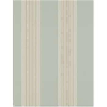 Colefax & Fowler Tealby Stripe Wallpaper - Aqua / Beige, 07991/04