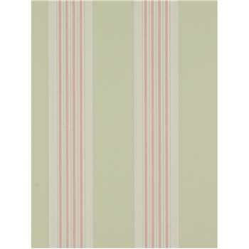 Colefax & Fowler Tealby Stripe Wallpaper - Pink / Green, 07991/05