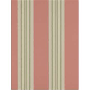 Colefax & Fowler Tealby Stripe Wallpaper - Red / Green, 07991/01