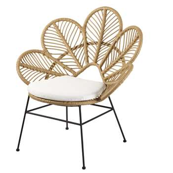 COLIBRI Woven Garden Armchair with Ecru Cushion (H96 x W85 x D72cm)