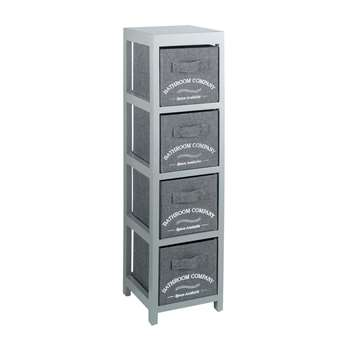Collection Canvas 4 Drawer Bathroom Storage Units  - Grey 74.2 x 20cm