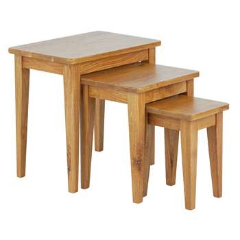 Collection Nest of 3 Tables - Solid Oak (Width 52cm)
