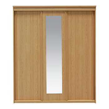 Collection New Hallingford 3 Dr Sliding Wardrobe-Oak Effect 206 x 175cm