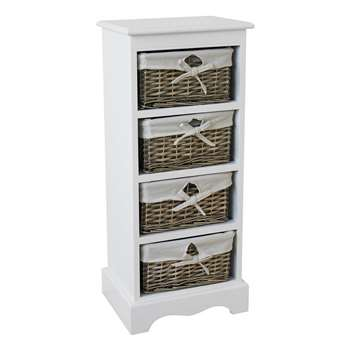 Argos Home New Malvern 4 Drawer Storage Unit - White (H76 x W33 x D26cm)