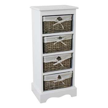 Argos Home New Malvern 4 Drawer Storage Unit - White (H76 x W33 x D26cm)