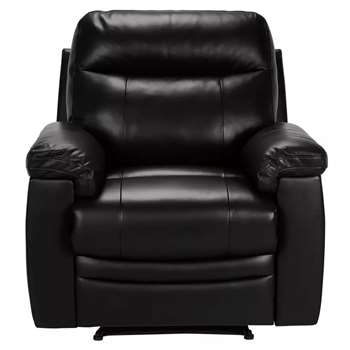 Argos Home Paolo Leather Mix Manual Recliner Chair - Black (H95 x W95.5 x D90cm)