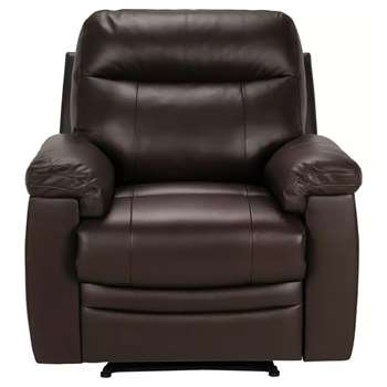 Argos Home Paolo Leather Mix Manual Recliner Chair - Brown (H95 x W95.5 x D90cm)