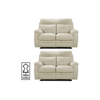 Collection New Paolo Reg and Reg Recliner Sofa - Ivory