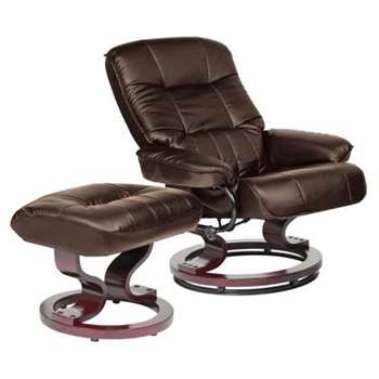 Collection Santos Leather Effect Recliner Chair/Footstool - Chocolate