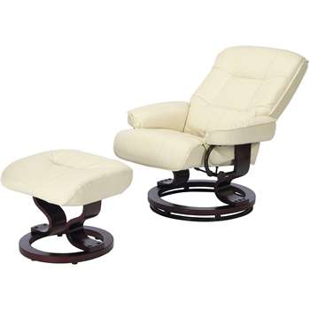 Collection Santos Leather Effect Recline Chair/Footstool -Ivory
