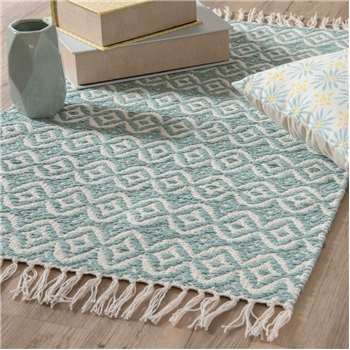 COLLIOURE patterned blue cotton rug (60 x 90cm)