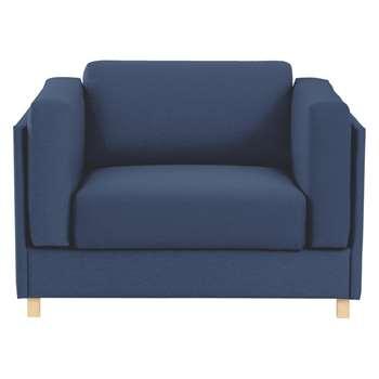 Colombo Blue Fabric Armchair Sofa Bed 76 x 113cm